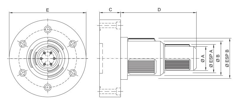 CK-PM/SDD - Double Diameter Modular Pneumatic Core Chuck - Schematic
