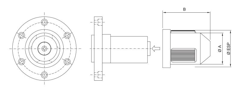 CK-SM - Single Diameter Modular Core Chuck - Schematic
