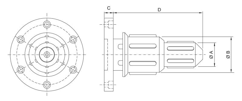 CK-TM/D - Double Diameter Side Load Core Chuck - Schematic