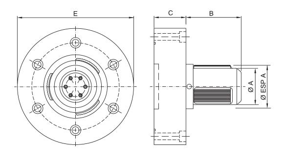 CK-PM - Single Diameter Pneumatic Core Chuck - Schematic