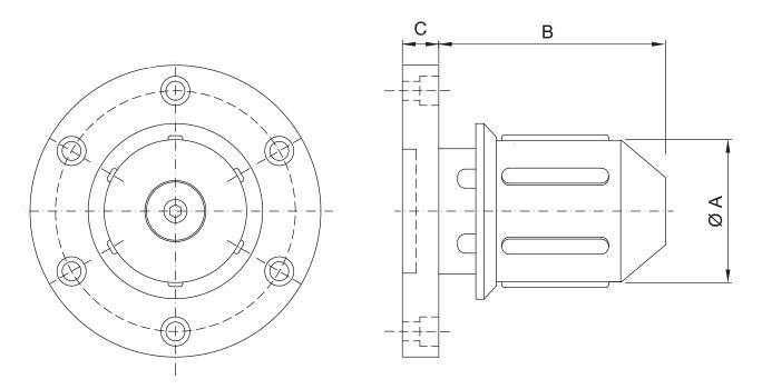 CK-TM/S - Single Diameter Side Load Core Chuck - Schematic