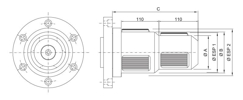 CK-SDD - Double Diameter Core Chuck - Schematic